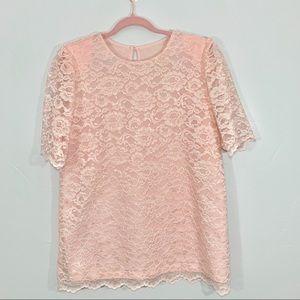 Vintage | 80's Blush Pink Lace Long Tunic Dress